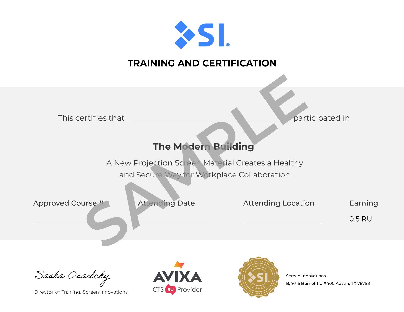 AVIXA Certificate Sample